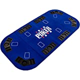 Maxstore Faltbare XXL Pokerauflage für bis zu 8 Spieler, Maße 160x80 cm, MDF Platte, 8 Getränkehalter, 8 Chiptrays, grün